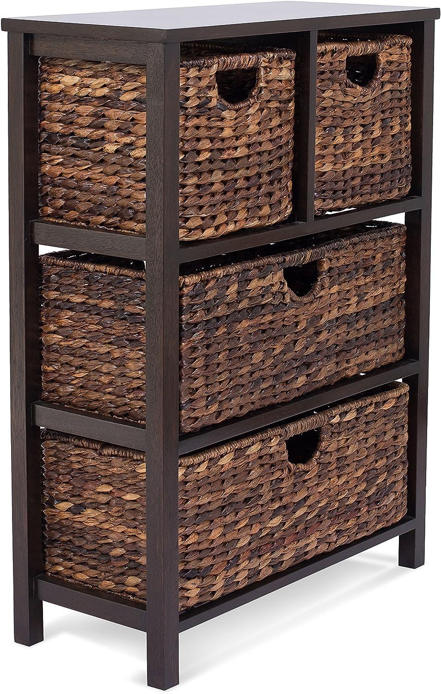 BIRDROCK HOME Seagrass Cubby Dresser - 4 Drawer Bins - Decorative Wood Storage Cubbies Shelf Organizer - Industrial Furniture Chest Basket - Espresso