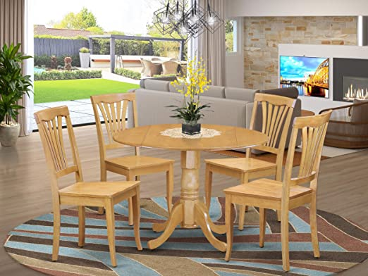 Silver Dining Table And Chairs, Amazon Com 5 Pc Kitchen Table Set Drop Leaf Table And 4 Dinette Chairs Table Chair Sets