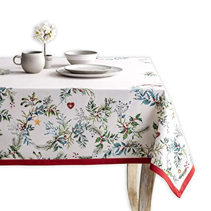 Maison d' Hermine Holly Time 100% Cotton Tablecloth 60 Inch by 120 Inch. Perfect for Thanksgiving and Christmas best Christmas tablecloths