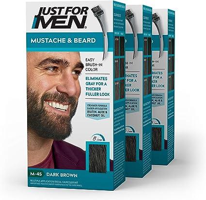 Just For Men - Tinte de barba y bigote para hombre, color negro marrón (M45),pack de 3 unidades