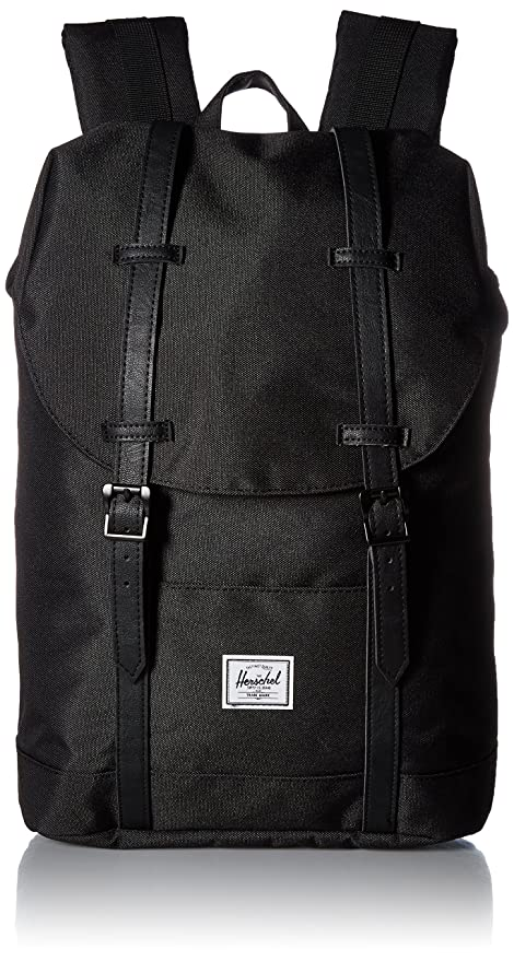 Herschel 10329 - Mochila Casual Adulto Unisex, Black/Black Synthetic Leather (Negro)