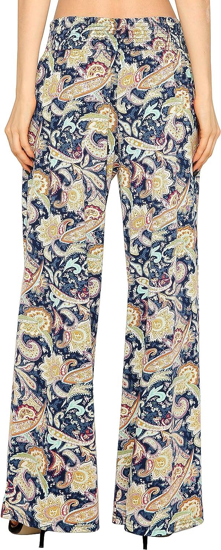 Urban GoCo Femmes Floral Imprim/é Pantalons Casual Jambe Large Palazzo Pantalons