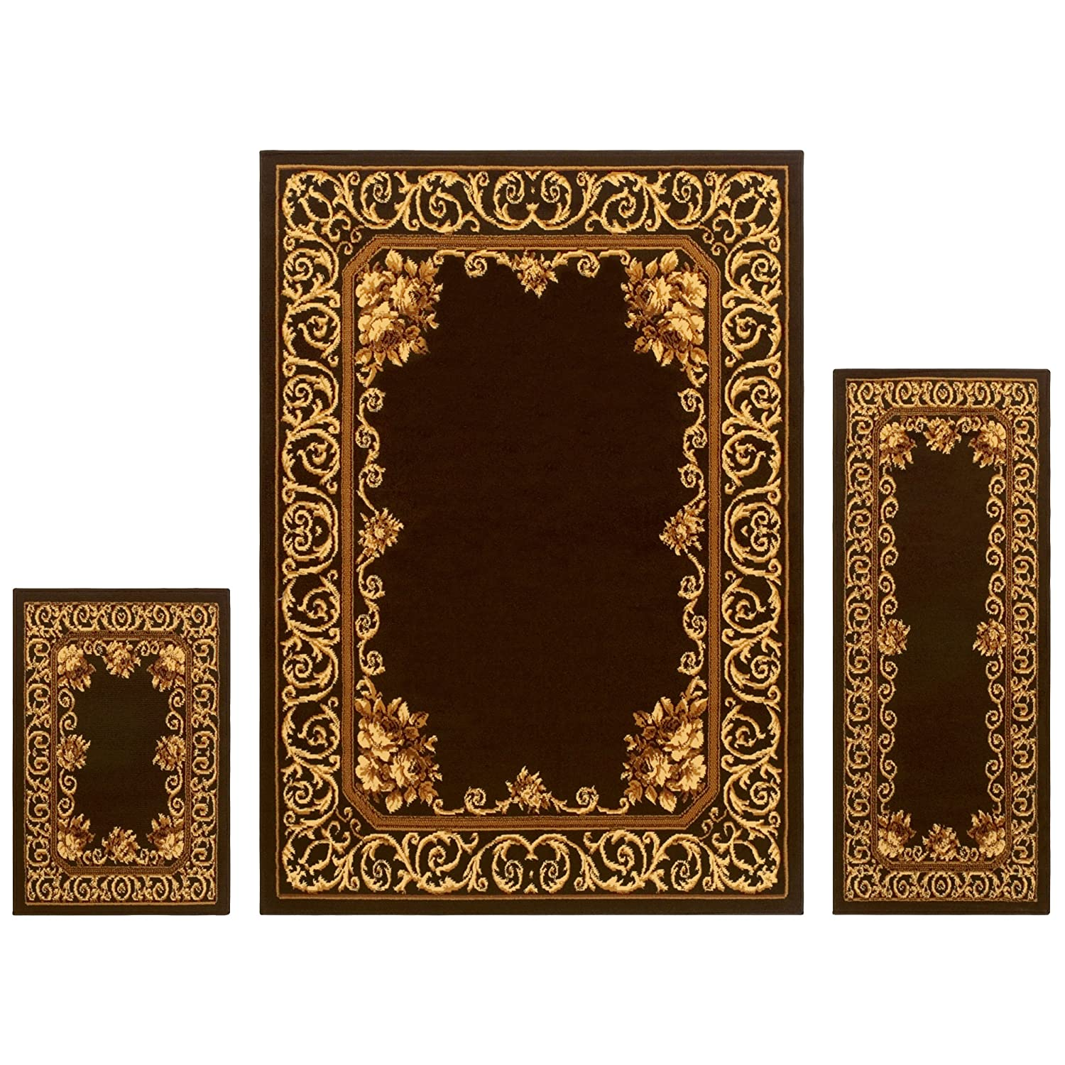 Superior Elton Collection 3-Piece Rug Set, Attractive Rugs Jute Backing, Durable Beautiful Woven Structure, Elegant Floral Medallion Area Rug Set - 2' x 3', 2' x 5 5' x 7' Rugs