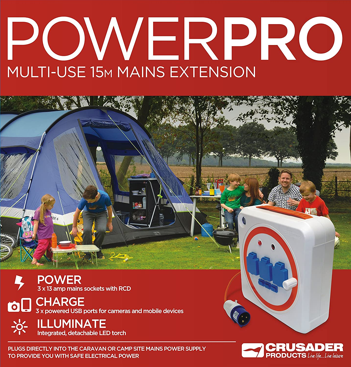 Crusader Powerpro Multi Use 15m Extension Mobile Mains Reel Hook Up Caravan Rcd Wiring Diagram With For Camping And The Garden Car Motorbike