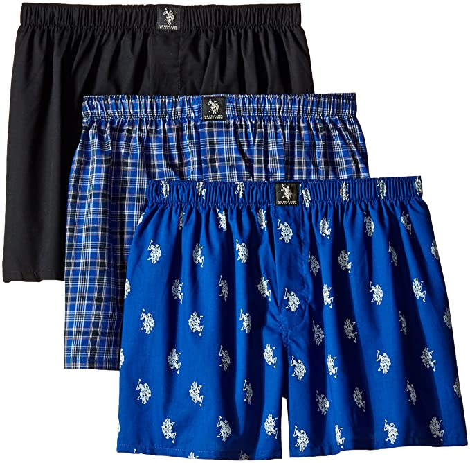 U.S. Polo Assn. Mens 3-Pack Assorted Woven Boxers, Black/Black ...