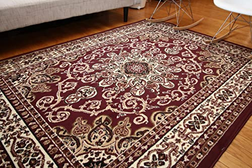 Oriental Traditional Isfahan Persian Area Rugs Burgundy Red 7'10 x 10'5