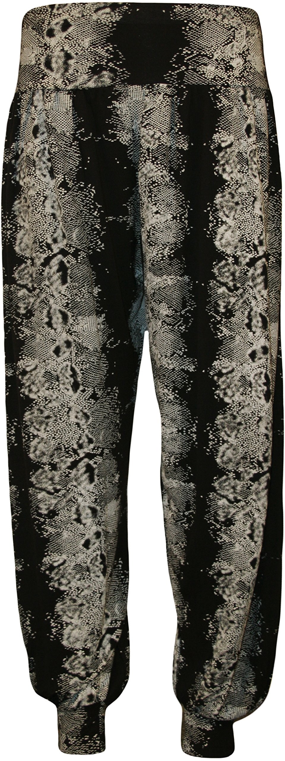 WearAll Women's Snake Animal Print Full Harem Pants - Black - US 20-22 (UK 24-26)