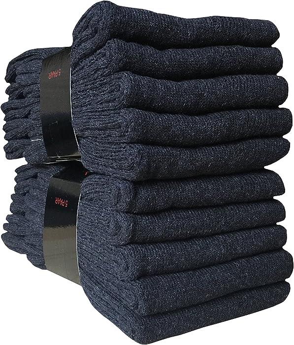 10 Paar Herren Arbeitssocken Baumwolle mit schwerem Garn schwarz Herrensocken