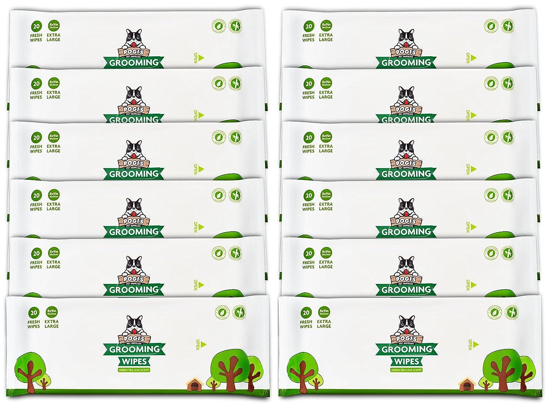 Lingettes nettoyantes Pack de Voyage Pogi's - 120 Lingettes désodorisantes pour Chien - biodégradables, Parfum de thé Vert, Naturelles Pogi' s Pet Supplies