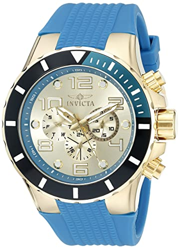 Invicta Men s 18740 Pro Diver 18k Gold Ion-Plated Watch with Blue Silicone Band