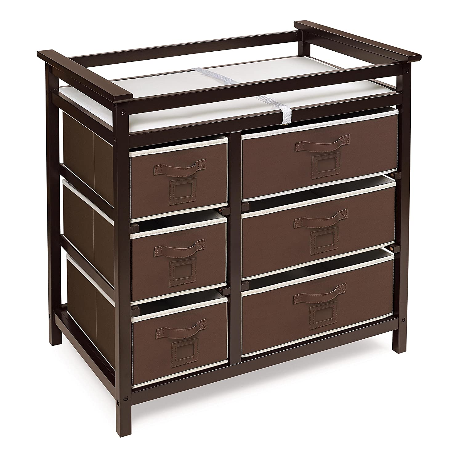 Badger Basket Modern Baby Changing Table with Six Baskets, Espresso/Ecru 25131