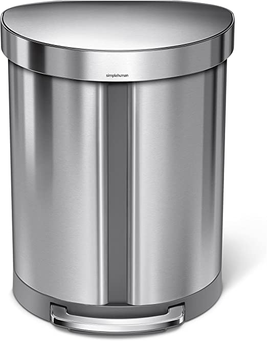 Semi Round Step On Trash Can 45 Liter Brushed Stainless Steel Liner Locking New