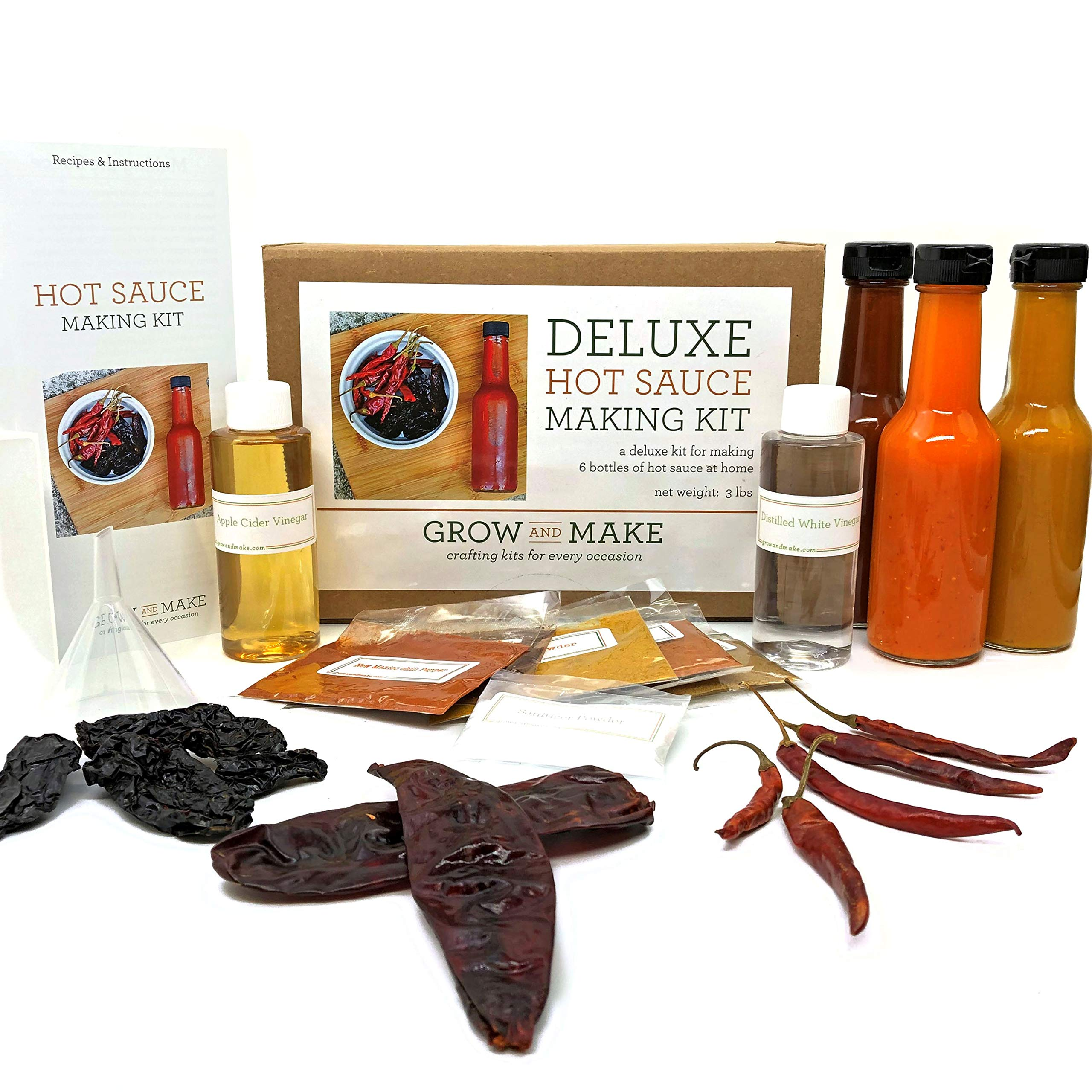 Grow and Make Deluxe DIY Hot Sauce Making Kit - Learn how to make 6 spicy sauces at home with chipotle, arbol, and guajillo peppers! by Grow and Make (Image #1)