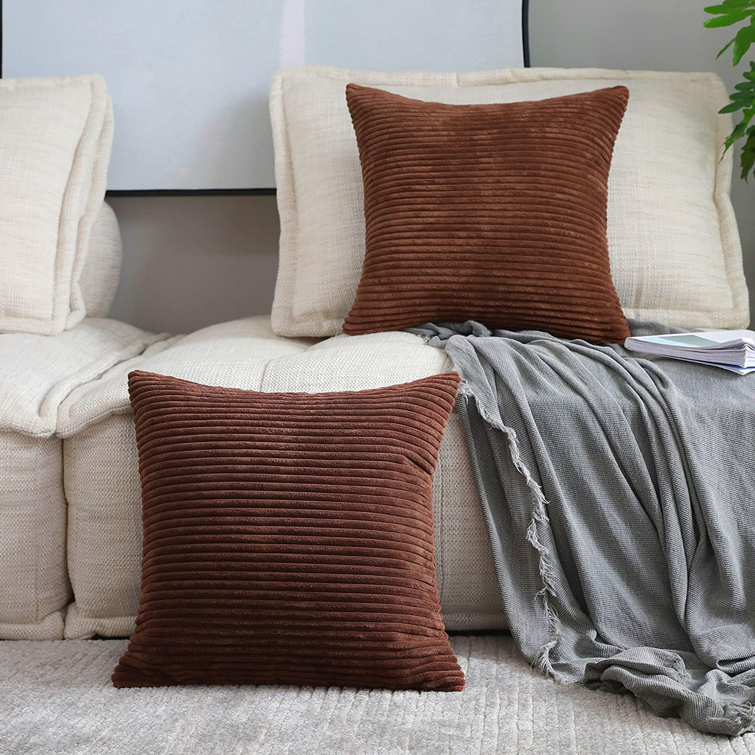 Home Brilliant Brown Couch Pillows Set of 2 Soft Striped Velvet Decorative Throw Pillows Covers 22x22 inch, Cushion Covers for Couch 55x55cm