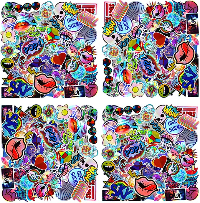 200 Pieces Starry Sky Stickers Animal Stickers Neon Light Stickers Graffiti Cartoon Stickers Laptop Assorted Waterproof Vinyl Decals for Water Bottle Skateboard Motorcycle Bicycle (Funny Style)