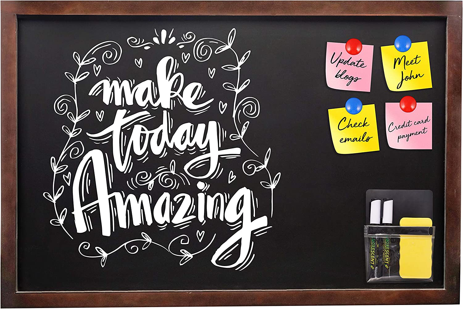 Amazon Com Magnetic Chalkboard Wood Framed Black Chalk Board 24 X 36 In Large Vintage Rustic Frame Wall Mounted Sign Boards With Magnetic Pouch Markers Eraser Magnet For Wedding Signs Kitchen Menu