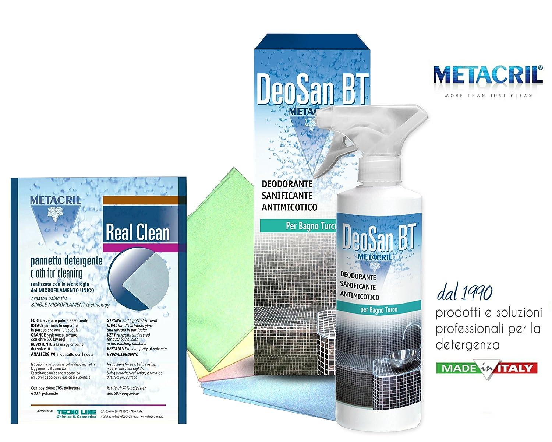 Detergente e Sanificante per il SAUNA e BAGNO TURCO (Hammam) - DEO SAN BT 500ml + Pannetto Multiuso Real Clean.- SPEDIZIONE IMMEDIATA Tecno Line sas