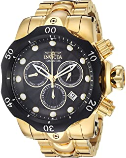 Invicta Mens Venom Quartz Stainless Steel Casual Watch, Color:Gold-Toned