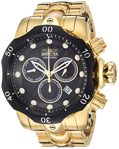 Amazon.com: Invicta Mens Venom Quartz Watch with Stainless-Steel Strap, Gold, 26 (Model: 23892): Watches