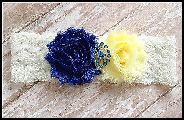 Amazon sexy royal blue yellow shabby flower vintage bling sexy royal blue yellow shabby flower vintage bling bridal lace wedding keepsake garter mightylinksfo