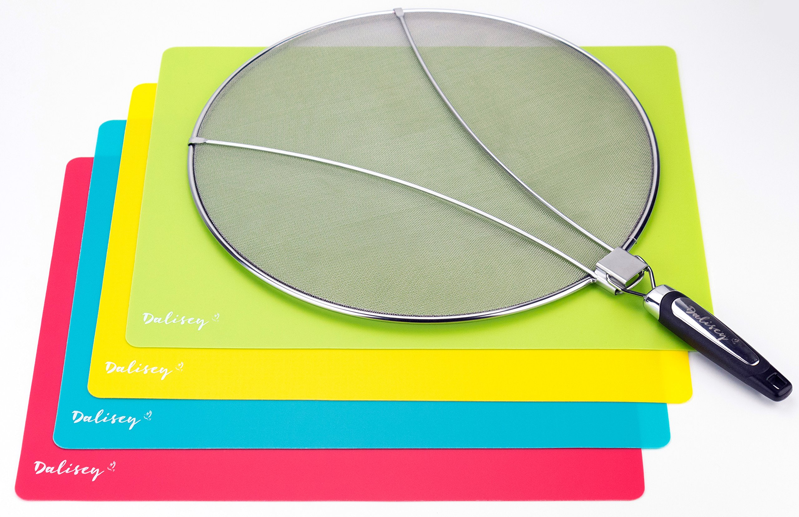 Dalisey 13'' Grease Splatter Screen w/ 4 Plastic Cutting Mats   Stainless-Steel Splash Guard, Ultra-Fine Mesh   Foldable, Heat-Resistant Handle for Safer Cooking, Frying Hot Oils