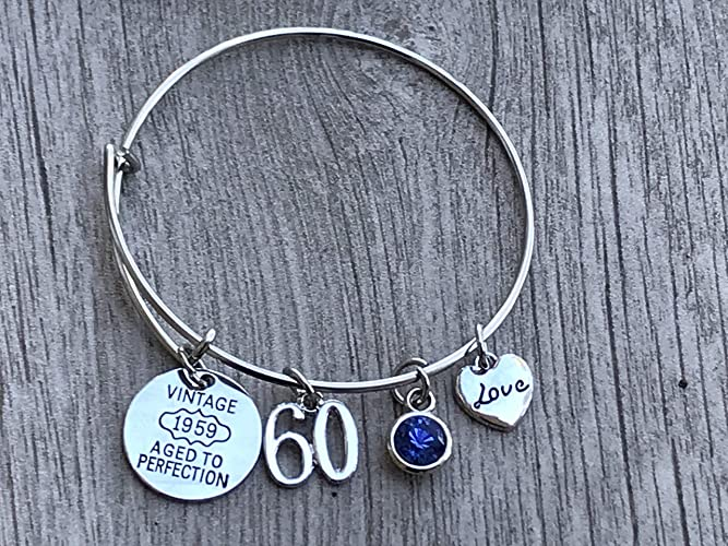 Amazon 60th Birthday Bangle Bracelet With Birthstone Charm Gifts For Women Vintage 1959 Aged To Perfection