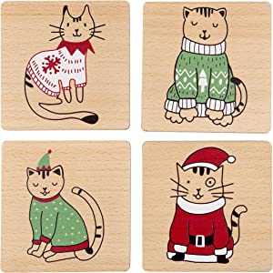 Pearhead Pet Holiday Cat Drink Coasters, Christmas or Housewarming Pet Owner Gift, Cat Home Décor, Set of 4, Multi (51113)