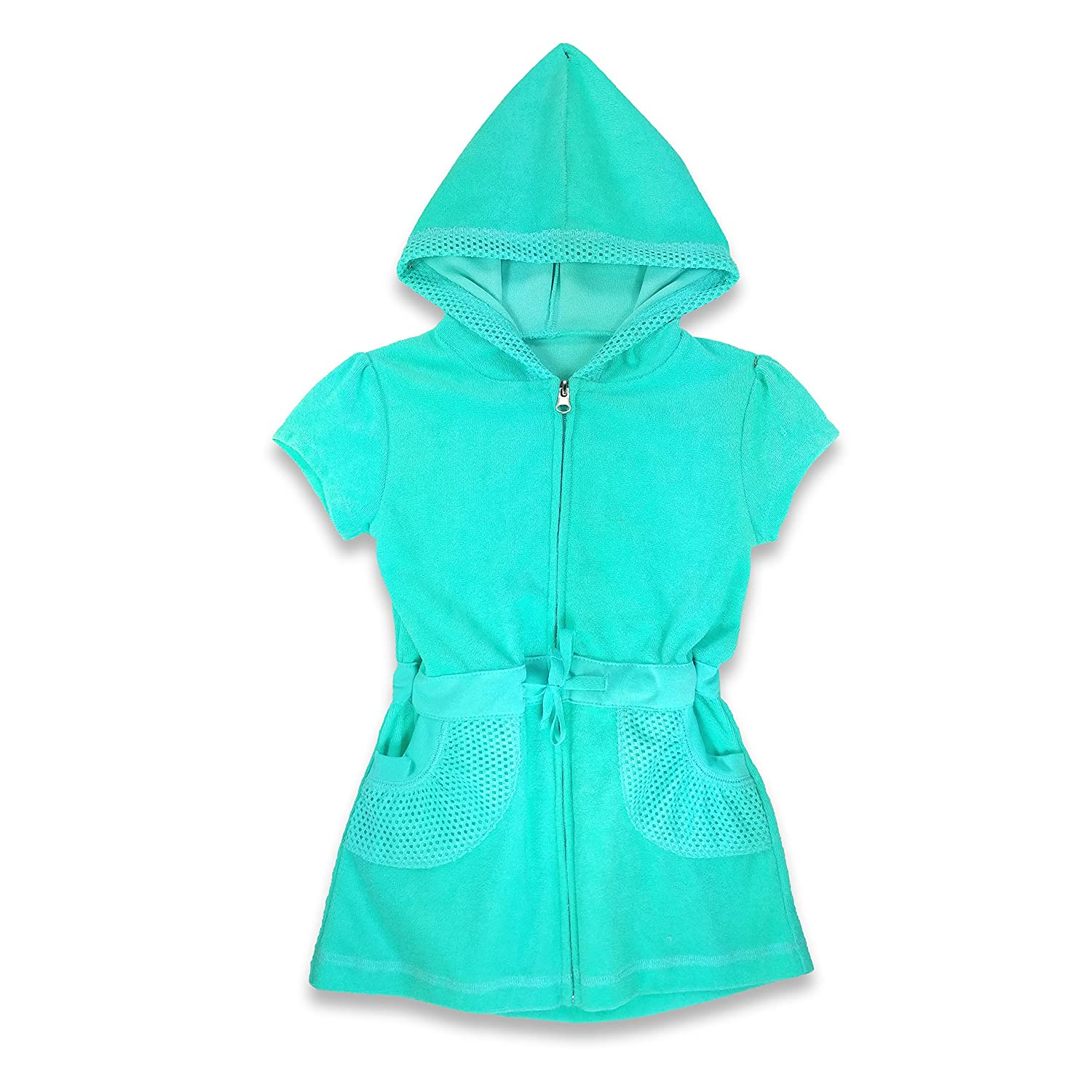 SOL Swim Little Girls Mesh Cover-Up Zip Front Turquoise, 2T, 3T, 4T GS2/376A-TRQ-2T