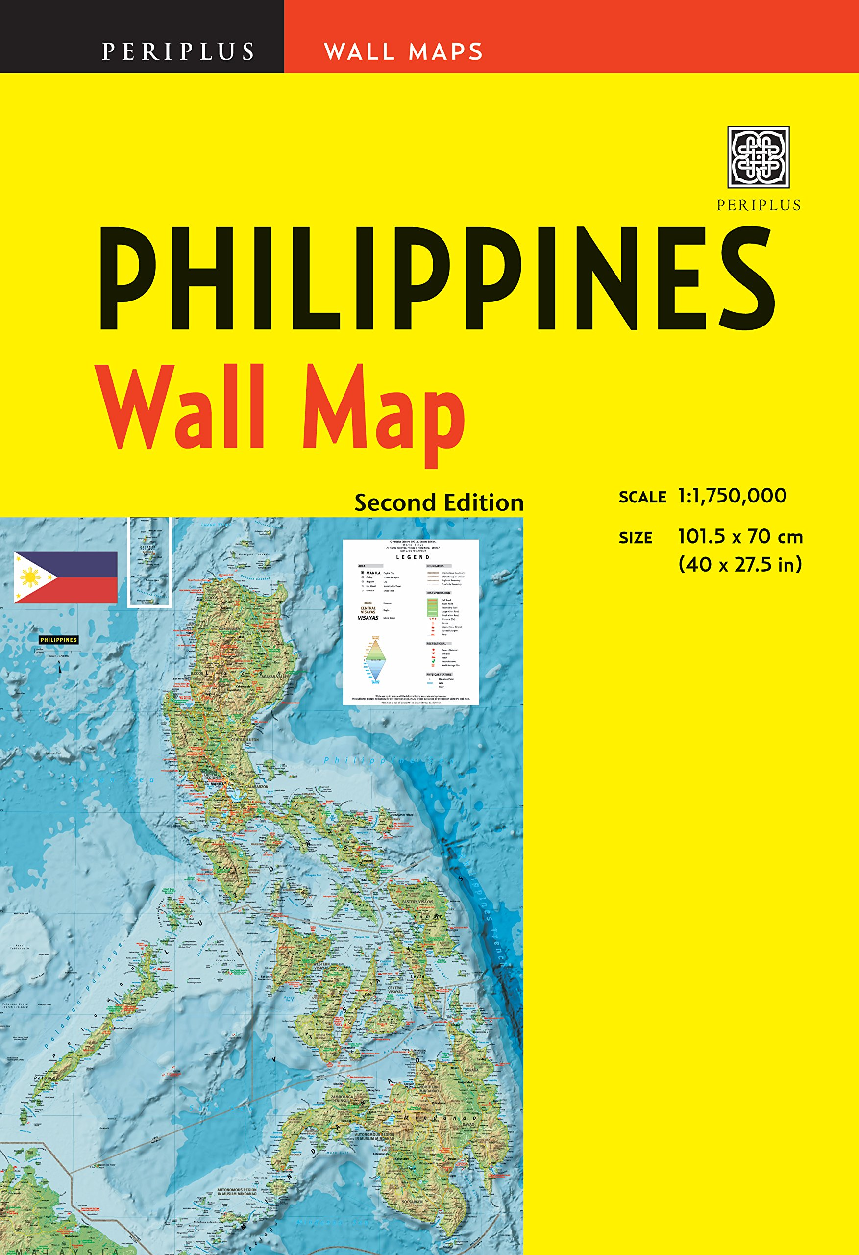 Philippines Wall Map Second Edition: Scale: 1:1, 750, 000; Unfolds ...