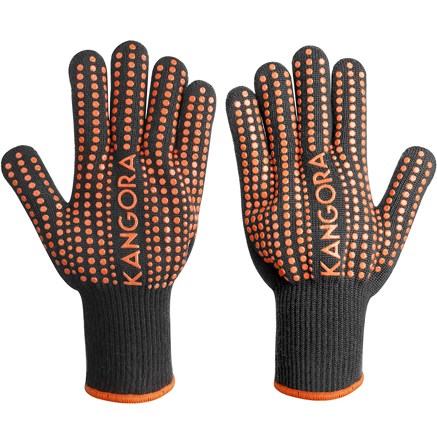 KANGORA Kitchen Cooking Gloves (Pair) Heat Resistant BBQ Grilling Oven Mitts | Non-Slip Silicone Grip, Long Safety Cuff | Protect Hands, Wrists | Barbecue, Stove, Oven Safe (Orange)