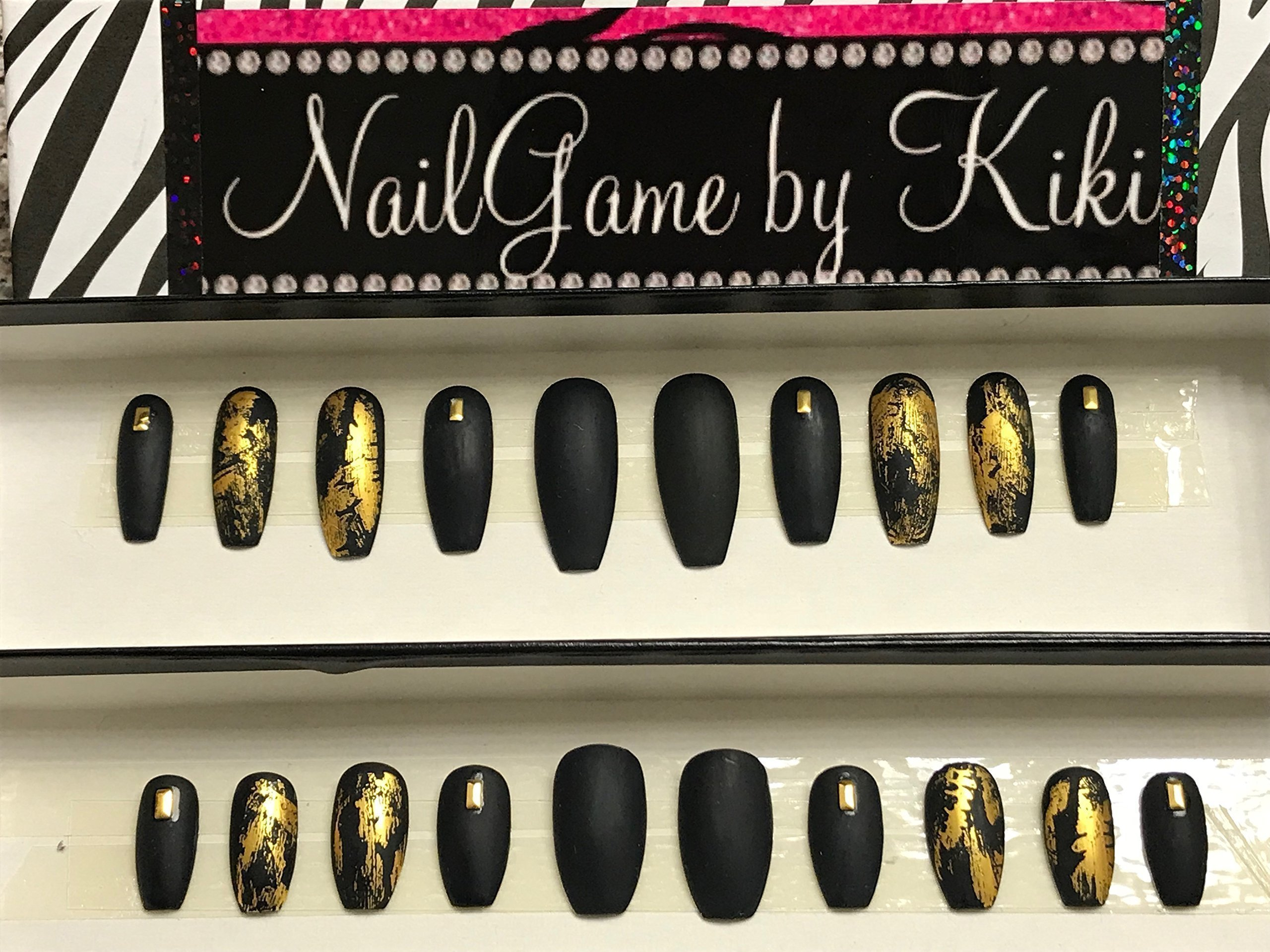 Black Matte and Gold Foil Hand Designed Press On Nails