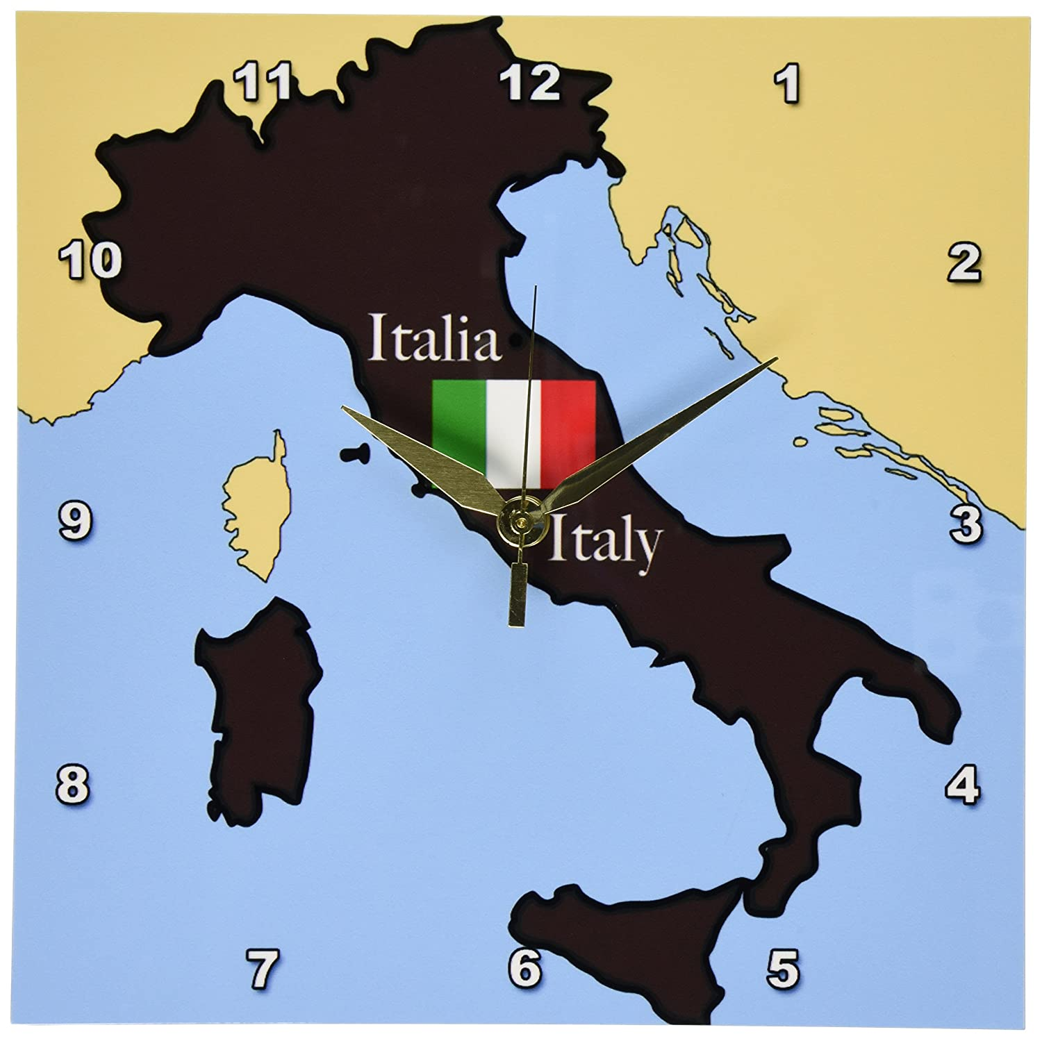 English Map Of Italy.Amazon Com 3drose Dpp 37591 1 The Map And Flag Of Italy With Italy