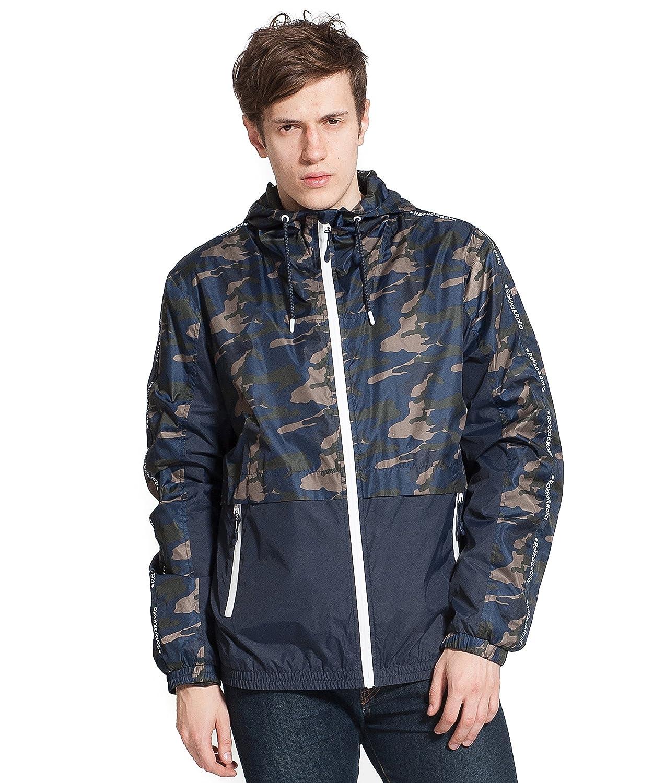 Rokka& Rolla Men's Lightweight Athletic Outdoor Rainproof Hooded Windbreaker Jacket