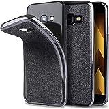 Samsung A5 2017 Hülle Silikon Glitzer case Grau - Moozy® Ultra Dünne weiche Transparent TPU Silikon Bling Handy Schutzhülle mit abnehmbarem Glitter