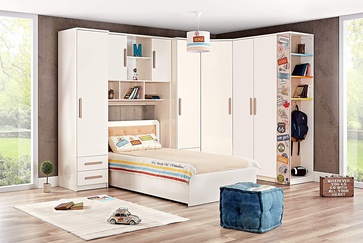 KIDOMATE Kids Joy in Bed with Wardrobe and Storage Head ...