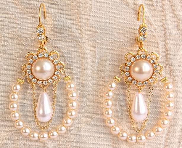 Bridal Pearl Chandelier Earrings Row Of Ivory Pearls Gold Weddings Victorian Statement