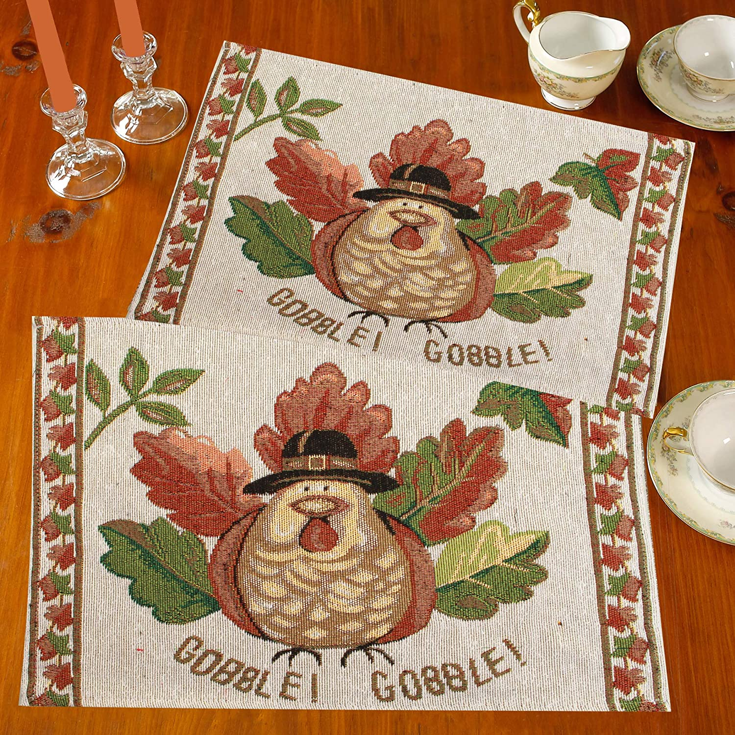 Tapestry Table Placemats for Dinner Parties, Event Décor Set of 4 Placemats Machine Washable (Thanksgiving Gobble Gobble)
