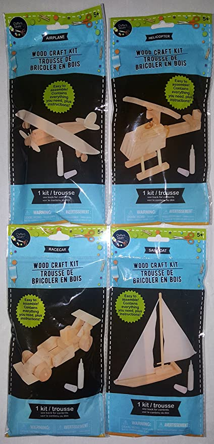 Amazon set of 4 diy do it yourself wooden model craft kit set of 4 diy do it yourself wooden model craft kit airplane solutioingenieria Images