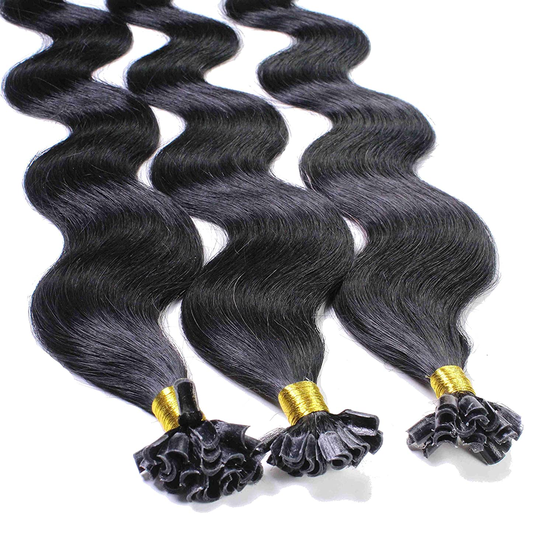 Hair2Heart 100 x 1g Extensiones de Queratina - 40cm - Corrugado, Color 1 Negro: Amazon.es: Belleza