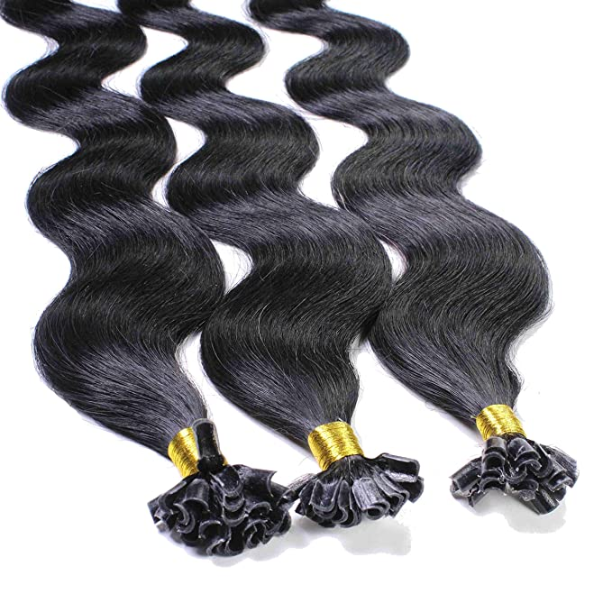 Hair2Heart 25 x 0.5g Extensiones de Queratina - 40cm - Corrugado, Color 1 Negro: Amazon.es: Belleza