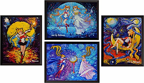 Uhomate 4 pcs Pretty Soldier Sailor Moon Wall Decor Vincent Van Gogh Starry Night Posters Wall Art Baby Gift Wall Decor Bedroom Bathroom Artwork M039 13X19