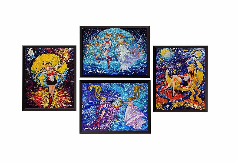 uhomate 4個Pretty Soldier Sailor Moon壁装飾Vincent van Gogh starry nightポスター壁アート記念ギフトベビーギフト壁装飾用寝室浴室アートワークm039 8X10 inch 8X10 inch  B07C9VXXV5