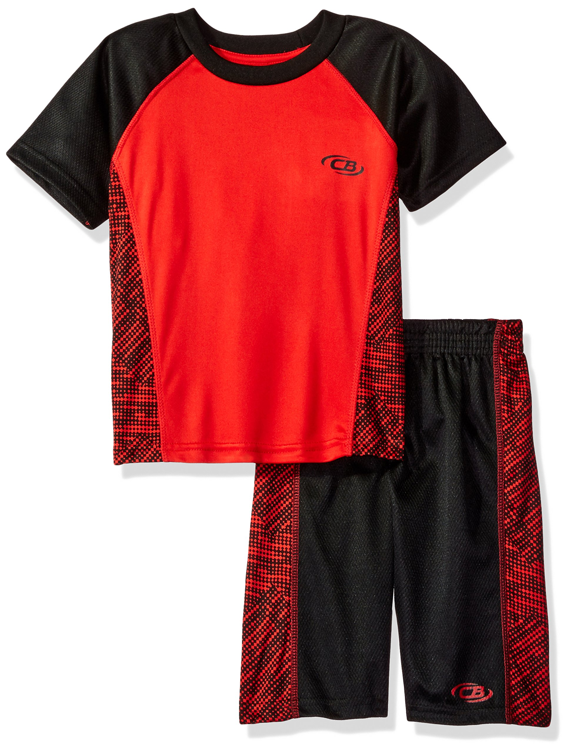 CB Sports Boys' Toddler 2 Piece Performance T-Shirt and Short Set, Si_Black, 2T