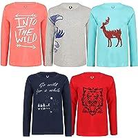 Elk Kids Boys Cotton Printed Full Sleeve T-Shirts Pack of 5 Green Blue Orange