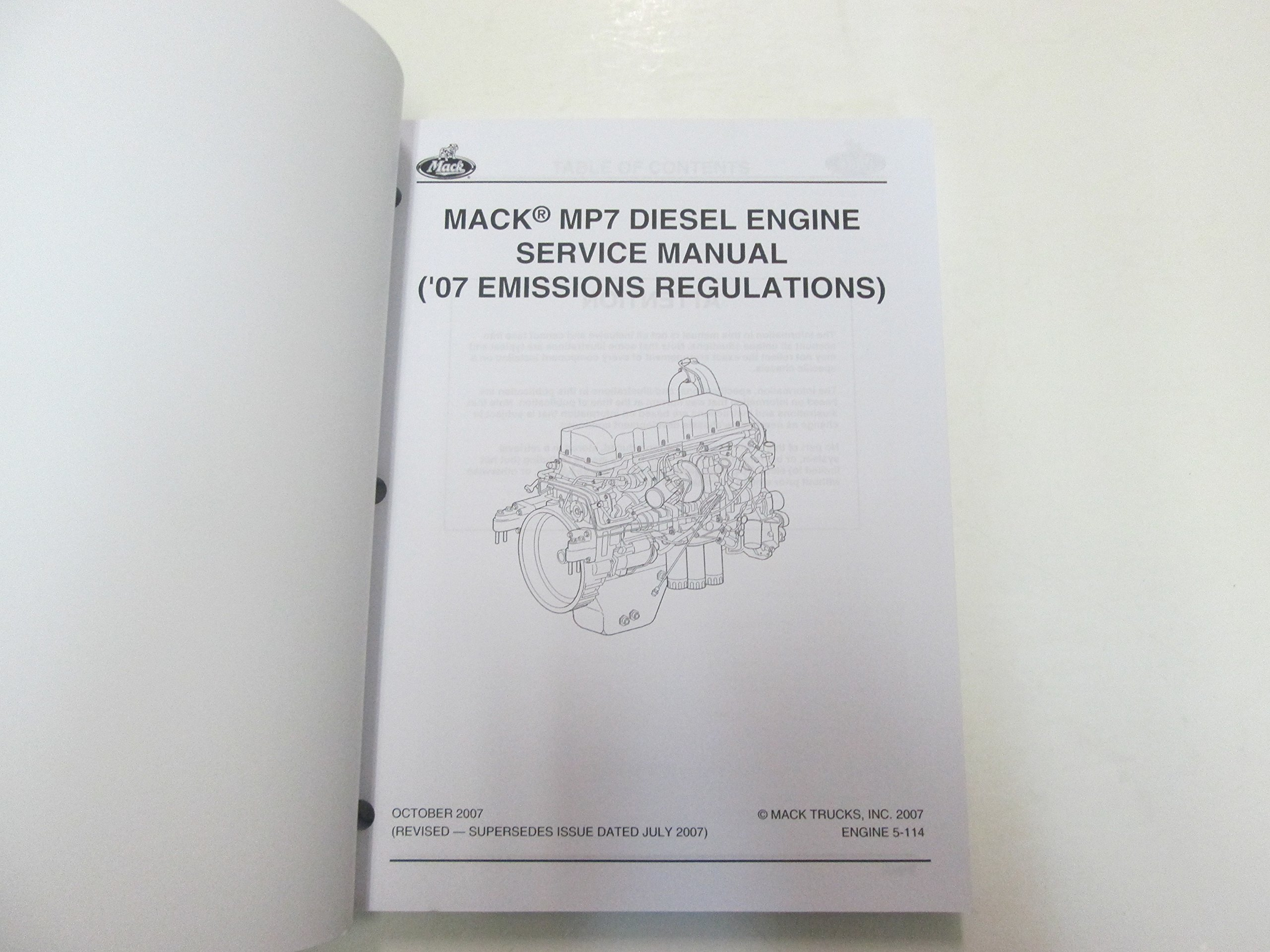 2008 Mack MP7 Diesel Engine 07 Emissions Regulations Service