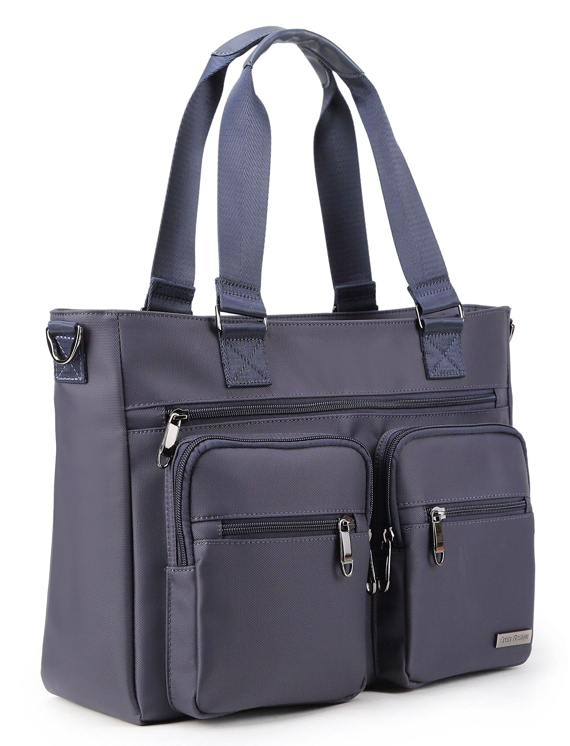 Crest Design Water Repellent Nylon Shoulder Bag Handbag Tablet Laptop Tote as Travel Work and School Bag. Perfect Nursing Tote to Carry Medical, Nursing Supplies (Navy)