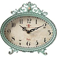 Creative Co-Op Green Antiqued Pewter Mantel Clock