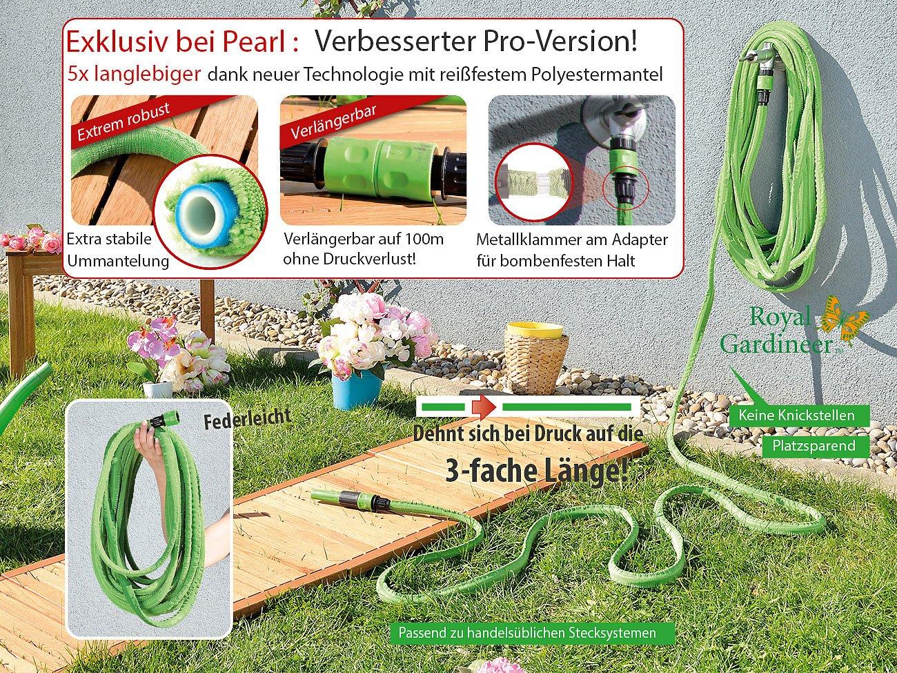 Royal Gardineer Dehnbarer Schlauch: Dehnbarer Gartenschlauch Pro.V2, 2,5 bis 7,5 m (Flexibler Wasserschlauch)