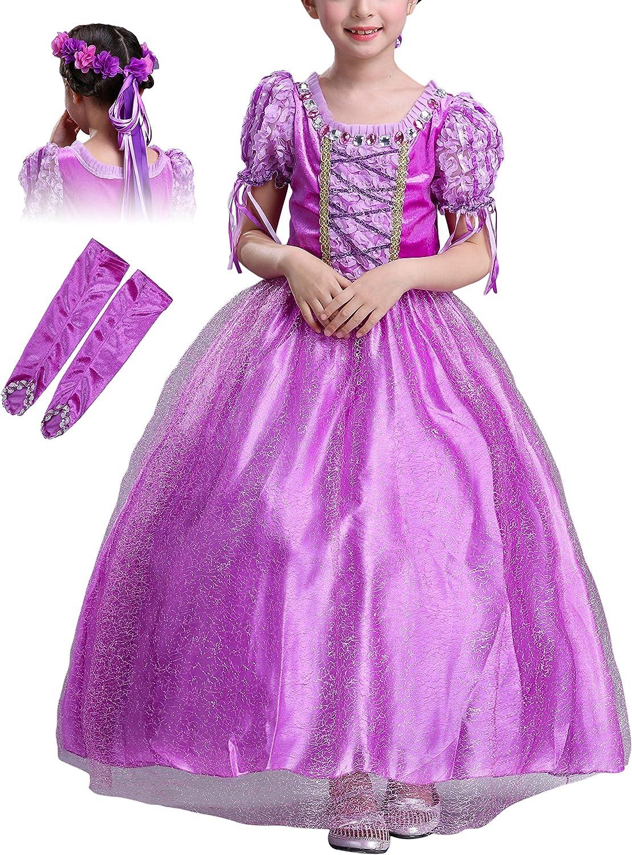 Monissy Disfraz de Princesa Niña Rapunzel Vestido de Cosplay ...