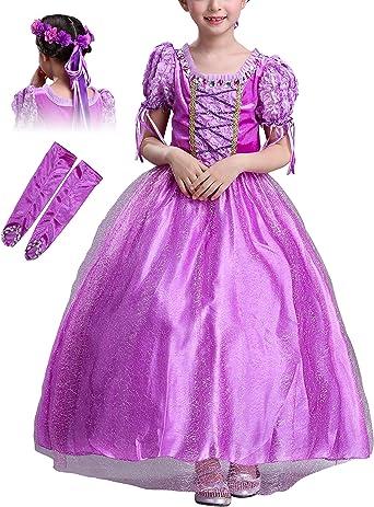 Monissy Niña Vestido de Princesa Rapunzel Manga Corta Tul Tutú ...